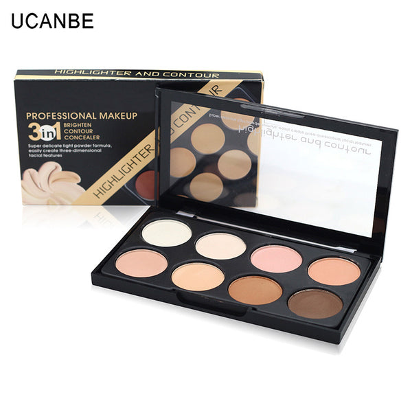 2016 Contouring Makeup 8 Color Bronzer & Highlighter Palette Brighten Contour Concealer 3 in 1 Pressed Powder Brand Cosmetic Set
