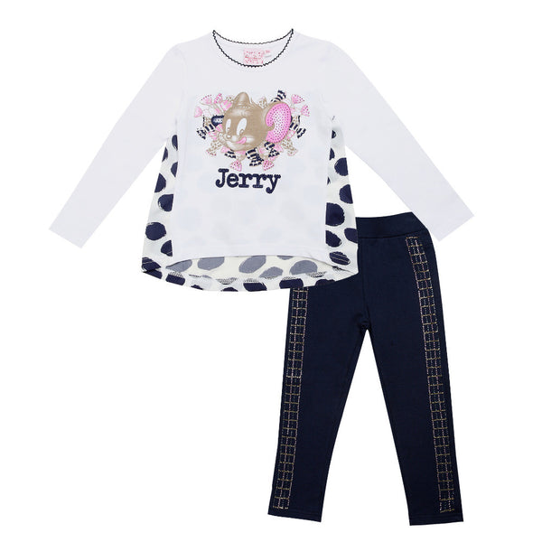 2016 fashion Monnalisa Children outfits clothing outfits sets kids cotton girl cute Cartoon jerry long sleeve shirts pant suits