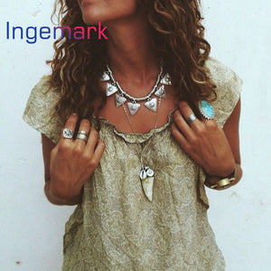 2016 Fashion Boho Jewelry Women Colar Feminino Sweater Necklace Clavicle Chain Geometric Triangle Choker Bib Statement Necklace