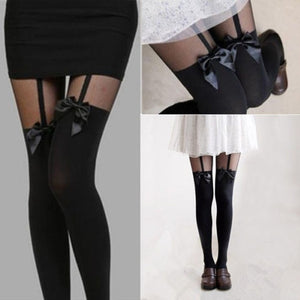 2016 Fashion New Sexy Lady Girl Fashion Hot New Personality Stocking Bowknot Suspender Sheer Pantyhose Tight