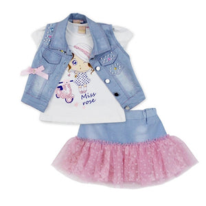 2016 fashion summer children clothing sets girl boutique outfits Denim short jackets cotton cartoon tops skirt suits clothes