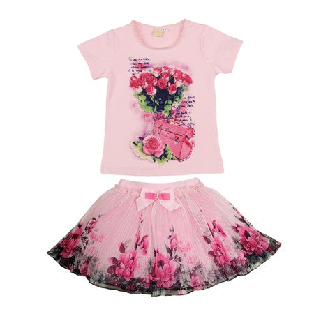 2016 fashion summer children clothing sets kids girl boutique outfits print floral short sleeve cotton tops skirt suits clothes