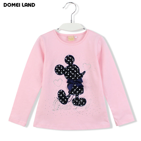 2016 Fashion winter baby brand clothing Outfits Sets Kids Girl Long Sleeve Rhinestone cartoon mouse Shirts bow skirts clothes