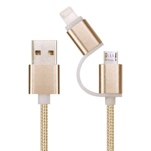 2016 High quality usb cable 2in1 For lightning & micro USB nylon braided charging cord data cable for iPhone Samsung and more
