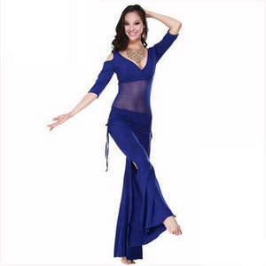 2016 Hot Sale New Haft-sleeved V-neck belly dance set Milk Silk Belly Dance Costumes women for training clothing Top&Pants