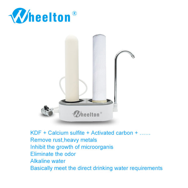 2016 Household water purifier Double filter core countertop faucet water filter Ceramic and compressed activated carbon filter