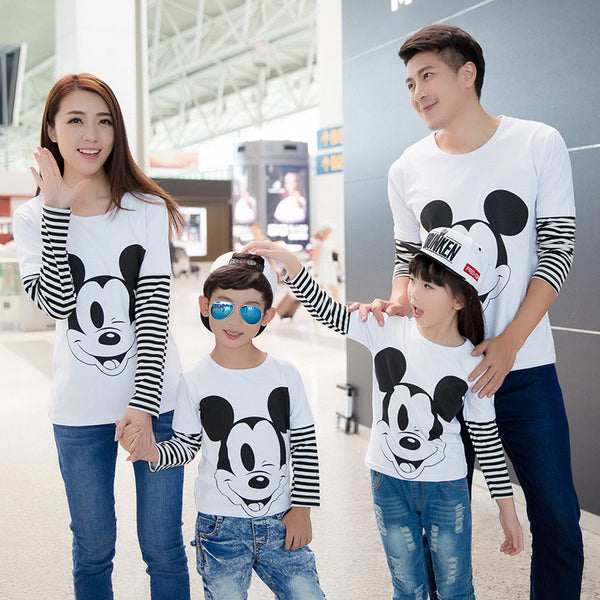 2016 Long sleeve t-shirt family cartoon mouse long sleeve family matching outfits mother and son t-shirt dress mouse family