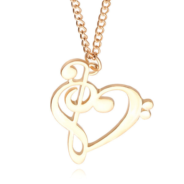 2016 Minimalist Simple Fashion Hollow Heart Shaped Musical Note Pendant Necklace Music Jewelry Special Gift