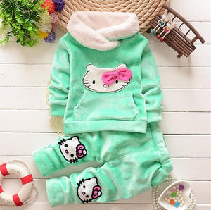 2016 new Autumn Winter baby girls clothing sets children velvet warm clothes set kids girls cartoon coats+pants 2pcs suits
