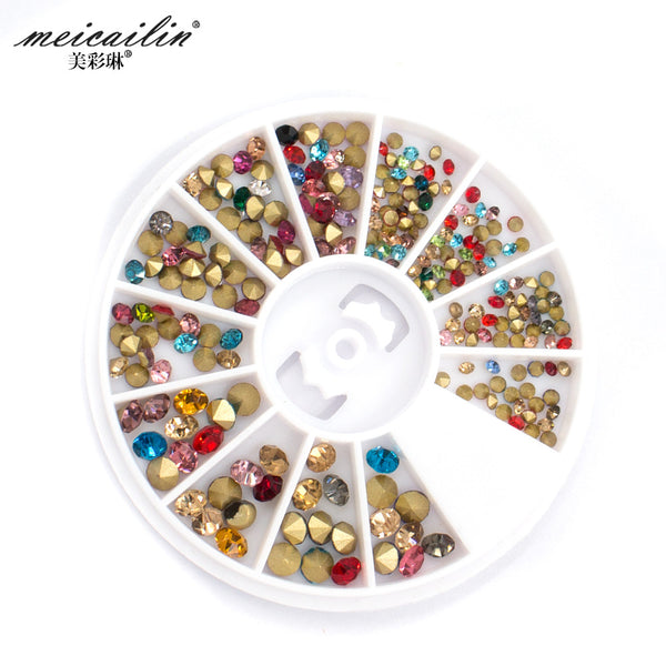 2016 New Arrival 1Wheel 3D Nail Art Rhinestone DIY Alloy Decoration Crystal Nail Rhinestones Shining Manicure Nails Art Cosmetic