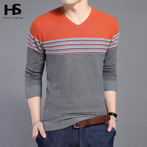 2016 New Arrival Hit Color Striped Patchwork Pullover Men V-Neck Pull Homme Casual Knitted Cashmere Wool Sweater Shirts OEM 6646