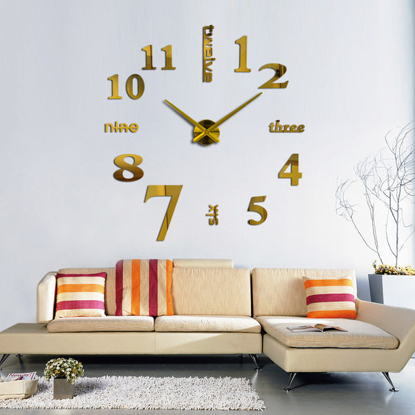 2016 new arrival Quartz clocks fashion watches 3d real big wall clock rushed mirror sticker diy living room decor free shipping