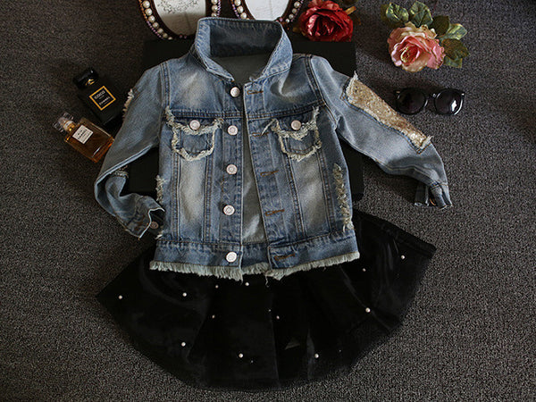 2016 new autumn and spring children clothing child clothes baby girl outerwear coat girl's jackets denim kids tops jeans wear
