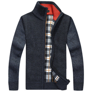 2016 new autumn and winter fashion men's business casual loose striped collar thickening zipper knitted cardigan jacket