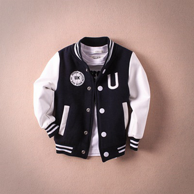 2016 New Baby Boys Coat PU Leather Jacket Kids Coats Winter Children Baseball Jacket Boys Clothes Kids Clothes Casual Outerwear