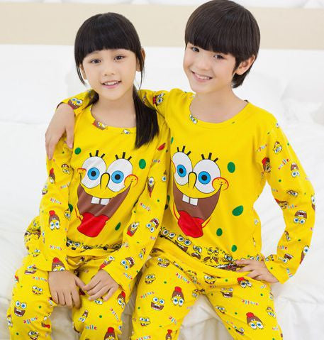 3a116e79c2 ... 2016 new children clothing set baby girl clothes baby boy sleepwear  SpongeBob pajamas set kids boy