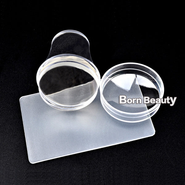 2016 New Design 4cm Clear Jelly Silicone Nail Stamping Stamper Scraper Set with Cap Polish Template Stamp Manicure Tools