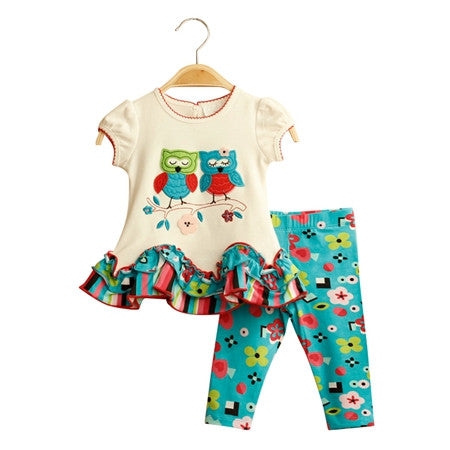 2016 new fashion brand girls boutique outfits clothing cotton sets for cute OWL short sleeve pants clothing suits