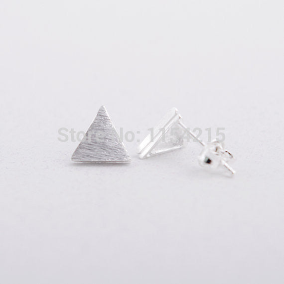 2016 New Fashion Gold Silver and Rose gold Brushed Triangle stud Earrings Egypt Pyramid shape stud earring EY-E019