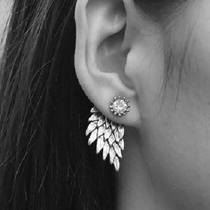 2016 New Fashion Punk Black Gold Silver Plated Gothic Women Jewelry Feather Angel Wings Rhinestone Alloy Stud Earrings Gifts