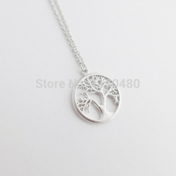 2016 New Fashion Tree Silver Long Chain Small Pendant Necklace Tree of Life Plant Necklaces for Women Dainty Jewelry -N121