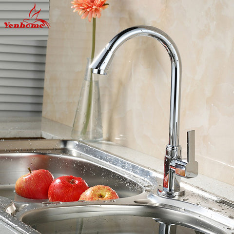 2016 New Faucets Single cold water tap Modern Chrome Solid Brass Water Power Kitchen Faucet Swivel Spout Kitchen Vessel Sink Tap