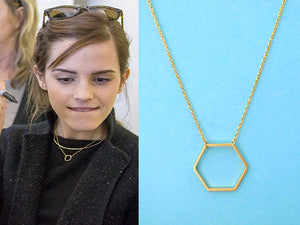 2016 New Geometric Gold Hexagon necklace for Women Simple Plain Long Chain Jewelry Necklace EY-N142