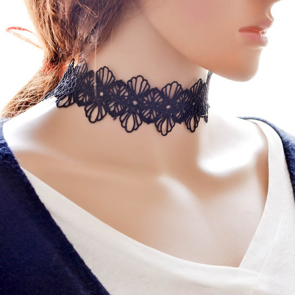 2016 New Hot Sale Women Water Drop Pendant Short Lace Necklace Adjustable Black Neck Band Choker Necklace for Women