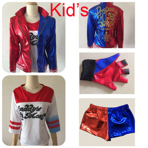 2016 NEW Kid's Suicide Squad Harley Quinn cosplay Costume Outfit Full Set halloween children Christmas gift jacket costumes