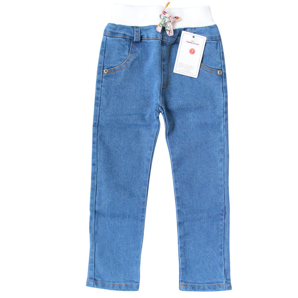 2016 New Style Girls Jeans Kids Clothing Pants For Girls Winter Trousers Children Jeans Elastic Waist Fashion For Baby Jeans