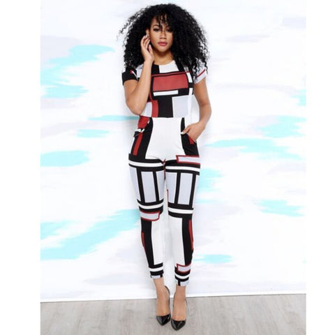 2016 New Style Sexy Club Jumpsuits Short Sleeve Print Back Zip Rompers Womens Jumpsuit Bodycon Elegant Jumpusits For Women
