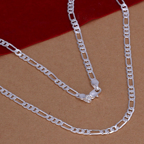 2016 New Top Quality Silver Plated & Stamped 925 4mm Figaro men's chains necklace for women men's jewerly wholesale 16-30inch