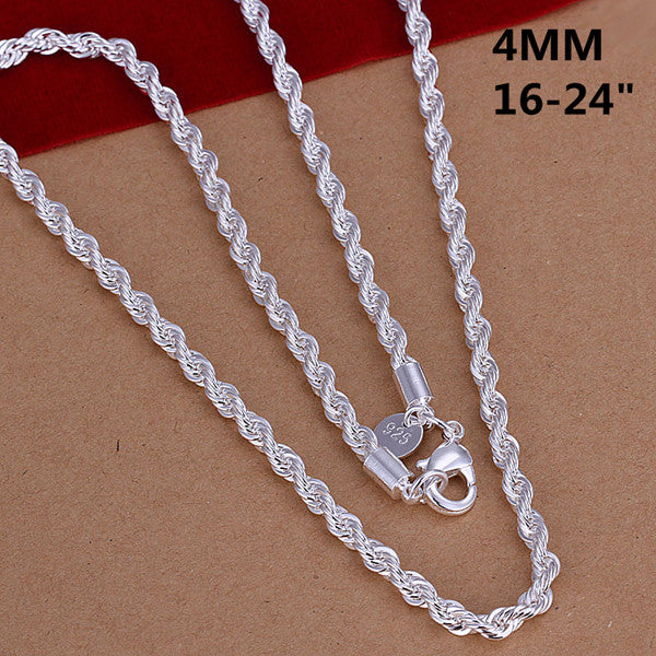 2016 New Top Quality Silver Plated & Stamped 925 4mm rope chains necklace for men fine jewerly16-24inch tibeaan silver necklaces