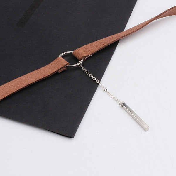 2016 New Trend Hot Fashion Black Leather Choker Necklace Wrap Gold Plated Geometry With Round Pendant For Women Necklace NL427