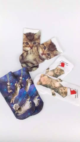 2016 new Trendy Europe 3D Printing Dog&Cat All kinds of animals Pattern Lovely 100% Cotton Socks Free shipping
