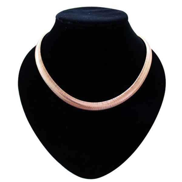 2016 Punk Style Rose Gold Plated Snake Chain Choker Necklaces For Women Lady Collier Femme Famous Brand Simple Fashion Jewelry