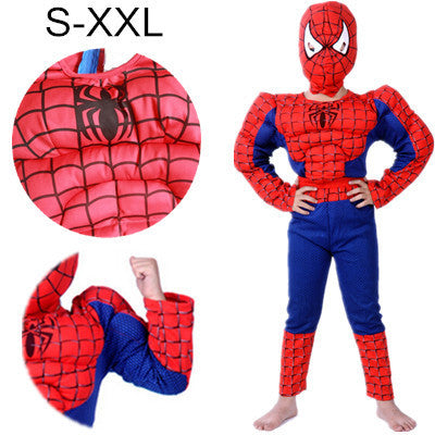 2016 S-XXL Muscle spiderman costume children kid boy girl halloween costume the spider man mask ball Masquerade party clohing