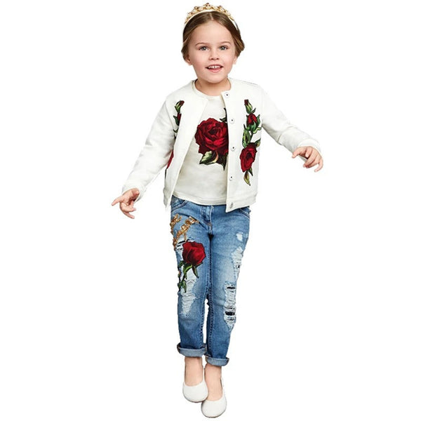 2016 Spring Autumn New Brand Fashion Rose Girls Clothes 3pcs 2-9Y Kids Clothes Girls long sleeves flower Children Clothing set