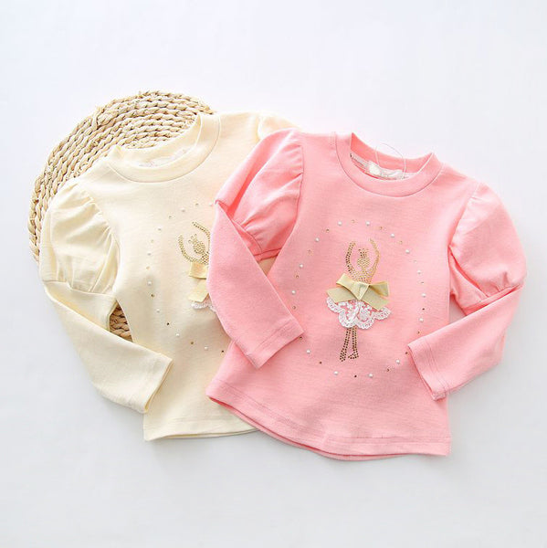 2016 spring new fashion Korean lace children clothing for cute kids girls Ballet girl ruffle bottoming Princess shirt