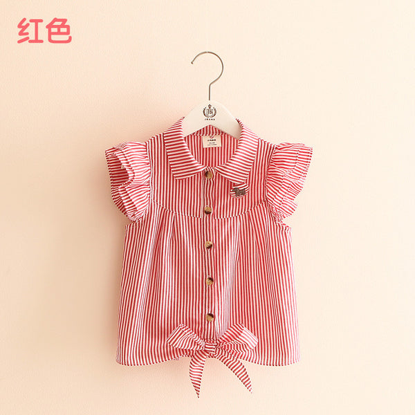2016 summer stripe butterfly sleeve child girl's blouses shirts children clothing baby child shirt for 100-140 cm kid