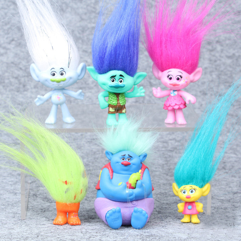 2016 Trolls Movie 6Pcs Set 8cm Dreamworks Figure Collectible Dolls Poppy Branch Biggie PVC Trolls Action Figures Doll Toy Trolls