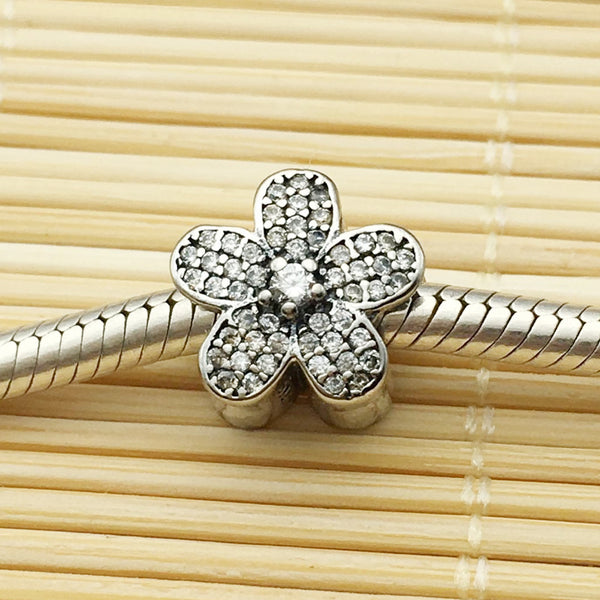 2016 Winter Hot Sale Fits Pandora Charms Bracelet 100% 925 Sterling Silver Bead Flower Charm with Cubic Zircon DIY Jewelry