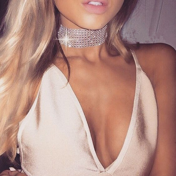 2016Fashion Bridal Wedding Party 8Row Stretch Crystal Rhinestone Choker Necklace Elastic Bib Collar Elegant Jewelry Christ Gift