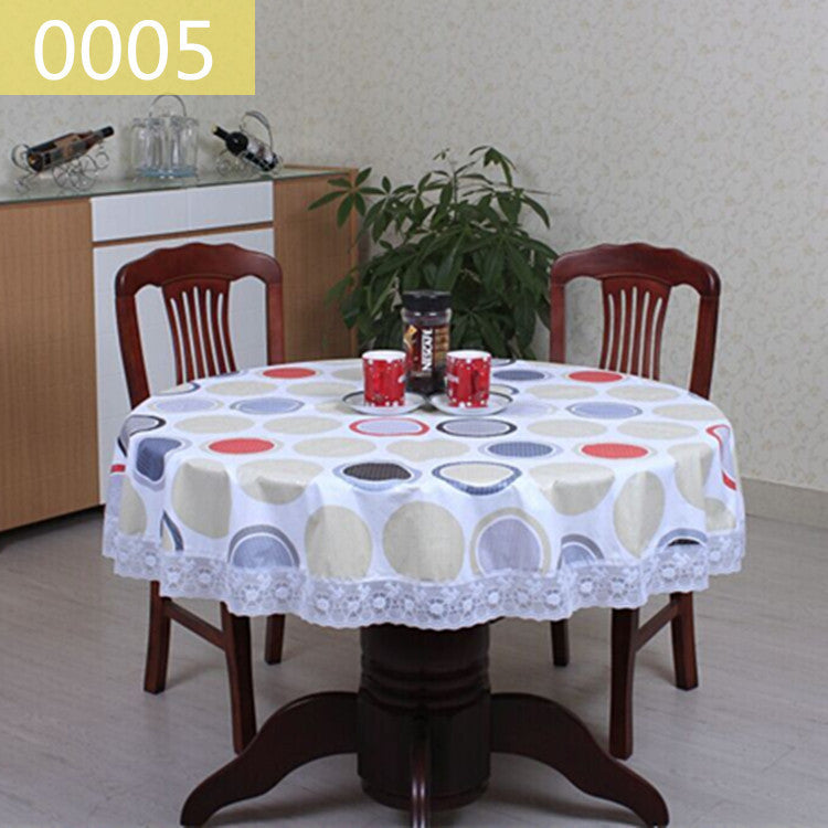 Etzetra & 2016New PVC Plastic Plus Velvet Thickened Round Tablecloths Waterproof Oilproof No Clean Tablecover Pastoral Style Lace