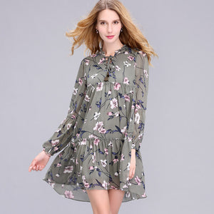 2017 New Arrival Spring Women's Clothing O-Neck Fashion Brief Brand Floral Print Plus Size Loose Chiffon Straight Dress S-2XL