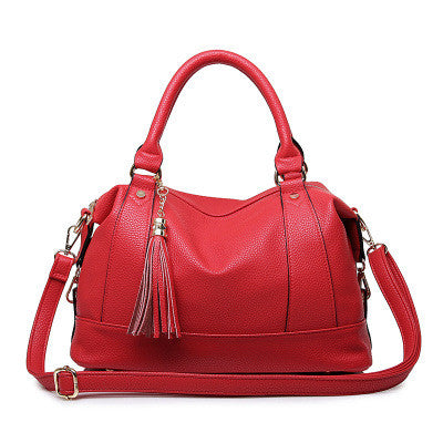 Qxmingjia Tassel Solid Pu Handbags Women Hb8027