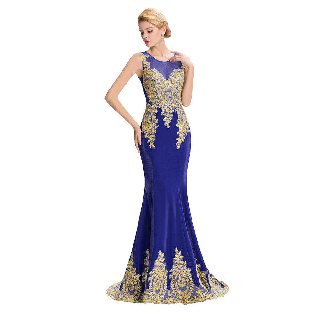da05cf7127 2017 New Design Gold Embroidery Mermaid Evening Dresses Black Blue Lace  Evening Gowns Patterns Formal dress Long Prom Dresses