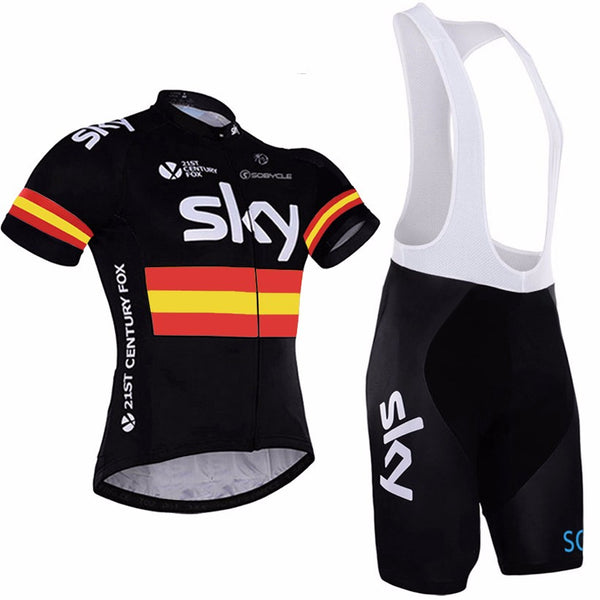 2017 New arrival Summer Breathable Ropa Ciclismo Short Sleeve Sky Cycling Jersey MTB Bike Jersey Coolmax Cycling Pants Shorts