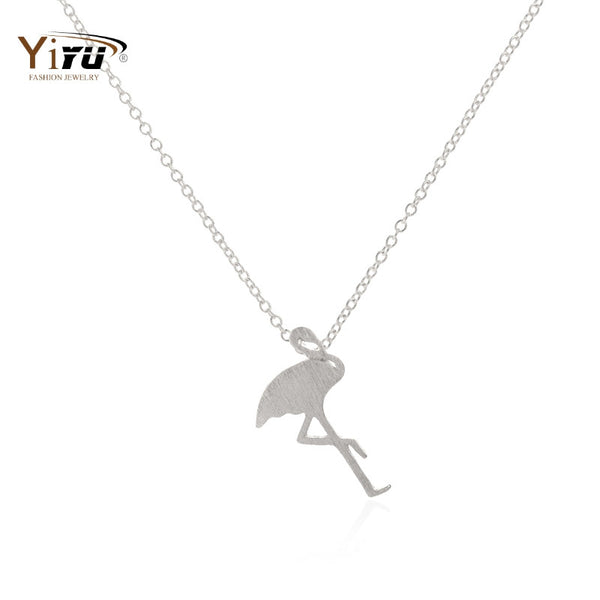 2017 New Arrival Cute Flamingo Necklace for Women Fashion Animal Jewelry Long Chain Necklace N045