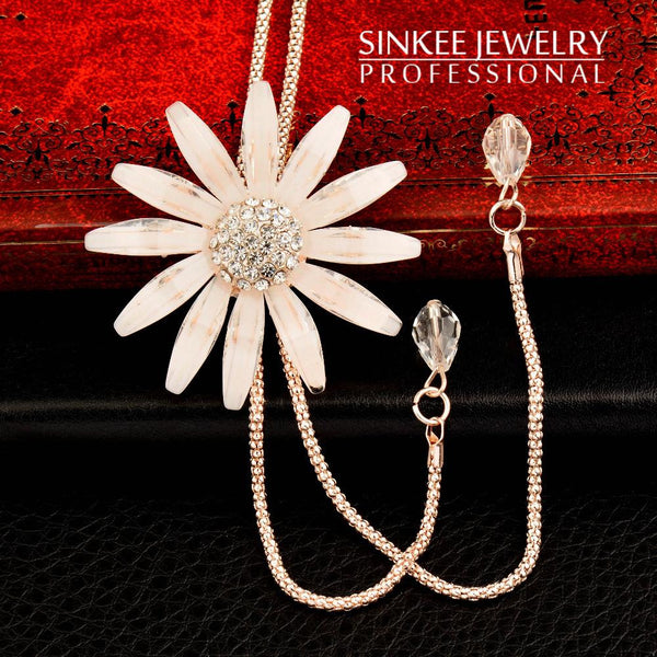 2017 New Sexy Big Flower Double Lines Long Pendant Women Necklace Chain My266 Necklaces & Pendants Christmas Gifts